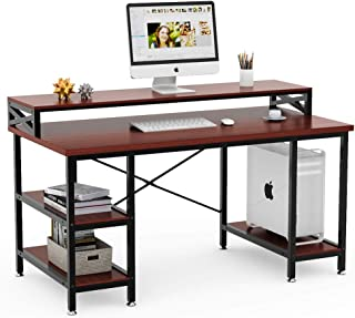 Tribesigns Computer Desk with Storage Shelves, 55 inch Large Modern Office Desk Computer Table Studying Writing Desk Workstation with Hutch for Home Office (Teak)