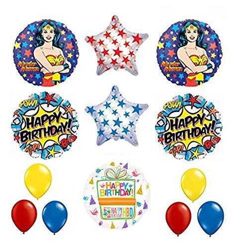 Mayflower Wonder Woman 13 pc Superhero Birthday Party Supplies and Balloon Decorations