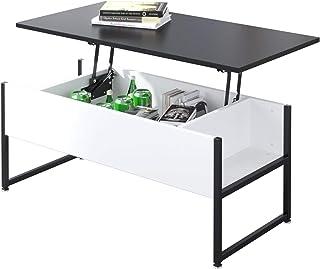 Table Basse relevable Bureau avec Grand Rangement caché pour Bureau de Salon (Noir et Blanc)
