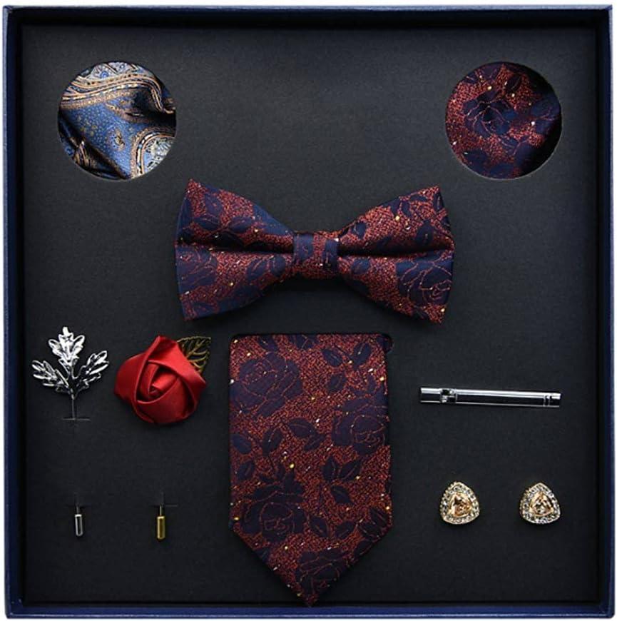 NSXKB Gift Box Packing Men's Vintage Floral Formal Cravat Ascot Tie Self British Style Gentleman Silk Tie Set (Color : D)