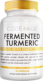 Codeage Organic Turmeric Supplement - 95% Curcumin Extract Pills - Organic Fermented Botanical Blend Black Pepper, Ashwaga...