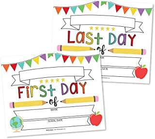 10 White First and Last Day of School Signs, Back to School Photo Booth Prop Rainbow White Color, 1st Preschool, Kindergarten, Pre K Grade, Reusable Reversible Girl Boy Kid Child Year 8x10 Card Stock