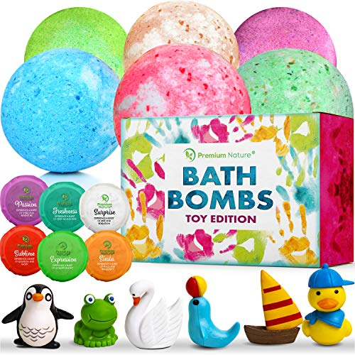 Bath Bombs Kids Gift Set - Big Ball Fizzy Bath Bombs With Toys Surprise Inside Gift Box Idea for Girls and Boys Bubble Bath Natural Aromatherapy Kid Boms for Bathbomb Kit Shea Butter & Essential Oils