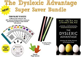 ✔ The Dyslexic Advantage + Dyslexia Brain Games CD + Reading Strips (12 PACK) + Finger Spacers | EASY BUNDLE | Unlocking the Hidden Potential of the Dyslexic Brain | 9 PDF Workbooks | +400 Worksheets Activities.