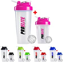 PROELITE Shaker Bottle Cup Whey Protein BCAA Mixer Smart Shaker Water Bottle Unisex 600ml 400ml Pink Estimated Price : £ 9,99