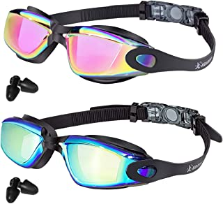 Keary Swim Goggles 2 Pack AntiFog Mirrored Swimming Goggles for Adults Women Men Youth