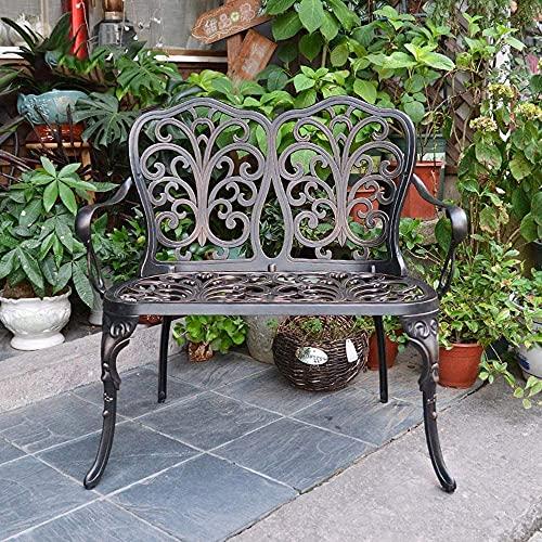 wsbdking Producto al aire libre Retro Banco Terraza Banco de jardín, Banco de aluminio fundido con respaldo y reposabrazos, bancos decorativos para el jardín de jardín Corredores de balcón, para céspe