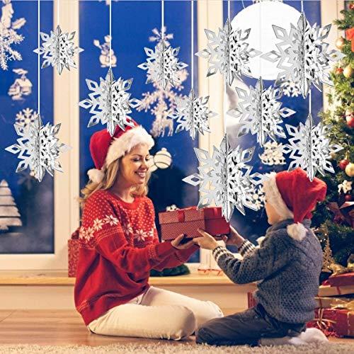 CCINEE - Ghirlanda da appendere con fiocco di neve 3D, per decorazioni natalizie e invernali, colore: argento