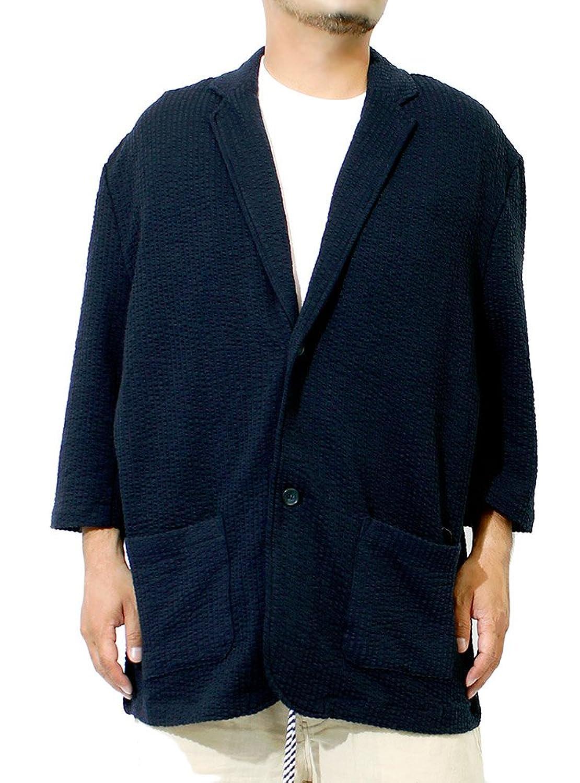 テーラードジャケット メンズ 大きいサイズ 七分袖 シアサッカー ストレッチ サマー ジャケット