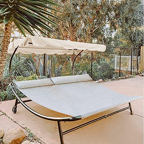 Abba Patio Outdoor Double Chaise Lounge with Adjustable Canopy and Headrest Pillow, Patio Wheeled Hammock Bed for Sun Room, Garden, Courtyard, Poolside, Cream, 6.6'L x 6.5'W