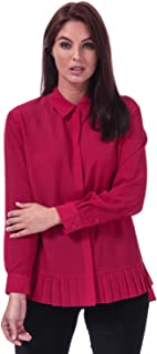 French Connection Womens Crepe Light Pleat Hem Shirt in Mimosa.