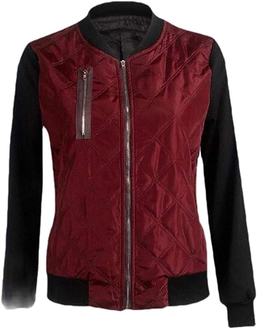 Fllaees Women's Contrast Color Outwear Baseball Flight Quilted Coat Jacket