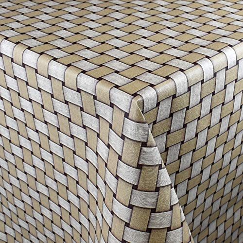Kevcus P1088-5 Oilcloth Tablecloth 160 cm Wide Wicker Light Brown Beige Garden Summer Available in Rectangular Round Oval, Border: Braid (Crocheted border), brown, 160 x 160 cm eckig