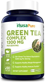 Sponsored Ad - Green Tea Complex 1300mg 180 Veggie Caps (Non-GMO & Gluten-Free) with Green Coffee Bean, Caffeine, Raspberr...