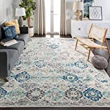 Safavieh Madison Collection MAD611A Bohemian Chic Vintage Distressed Area Rug, 8' x 10', Ivory/Aqua