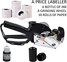 MX-H813 Price Labeller, Price Label Gun, 8 Digits,Includes Ten Rolls of Paper,an Ink Wheel and an Ink ,Auminum Alloy with Sticker Labels & Ink Refill for Office, Retail Shop, Grocery Store