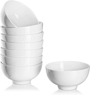 DOWAN 8 Packs 10 Ounces Porcelain Small Bowl Set for Ice Cream, Dessert, Small Side Dishes, Salad, Fruit, Dip, White