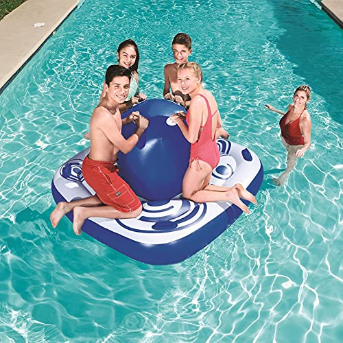LHYCM Inflatable Pool Float, Floating Boat with 8 Armrests, Inflatable Floating Island Fits Up To 4 People Great for Pool Lake,Float Party Toys