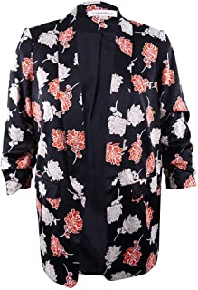 Womens Plus Floral Office Open-Front Blazer