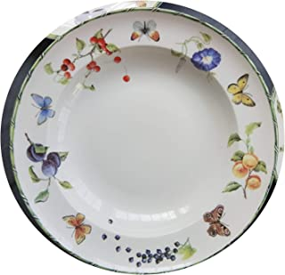 Berry Flower Butterfly Ceramic Tableware Dinnerware Set Porcelain Western Plate Dish Home Decoration Wedding Gifts,8 inch soup plate