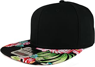 592ce56b0aa44 Armycrew Hawaiian Printed Visor Flat Bill Adjustable Snapback Baseball Cap