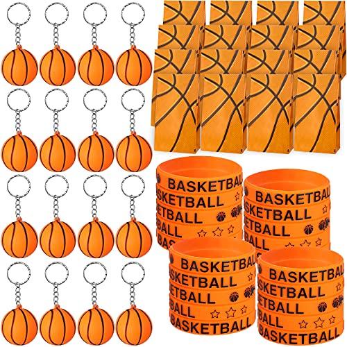 48 Borse per Regali per Feste Basket, Braccialetti in Silicone da Basket e Portachiavi Basket Arancioni per Bambini Adulto Pallacanestro Bomboniere, Ricompensa Carnevale Scuola