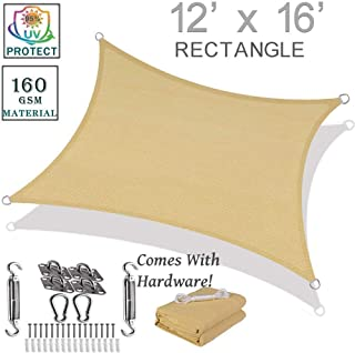 Sun Shade Sail 12' x 16' Rectangle Sand Color for Outdoor Patio Garden | Comes with Hardware Kit!