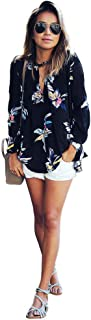 Womens Floral Printing T-Shirt Loose Long Sleeve Chiffon Blouse Tops