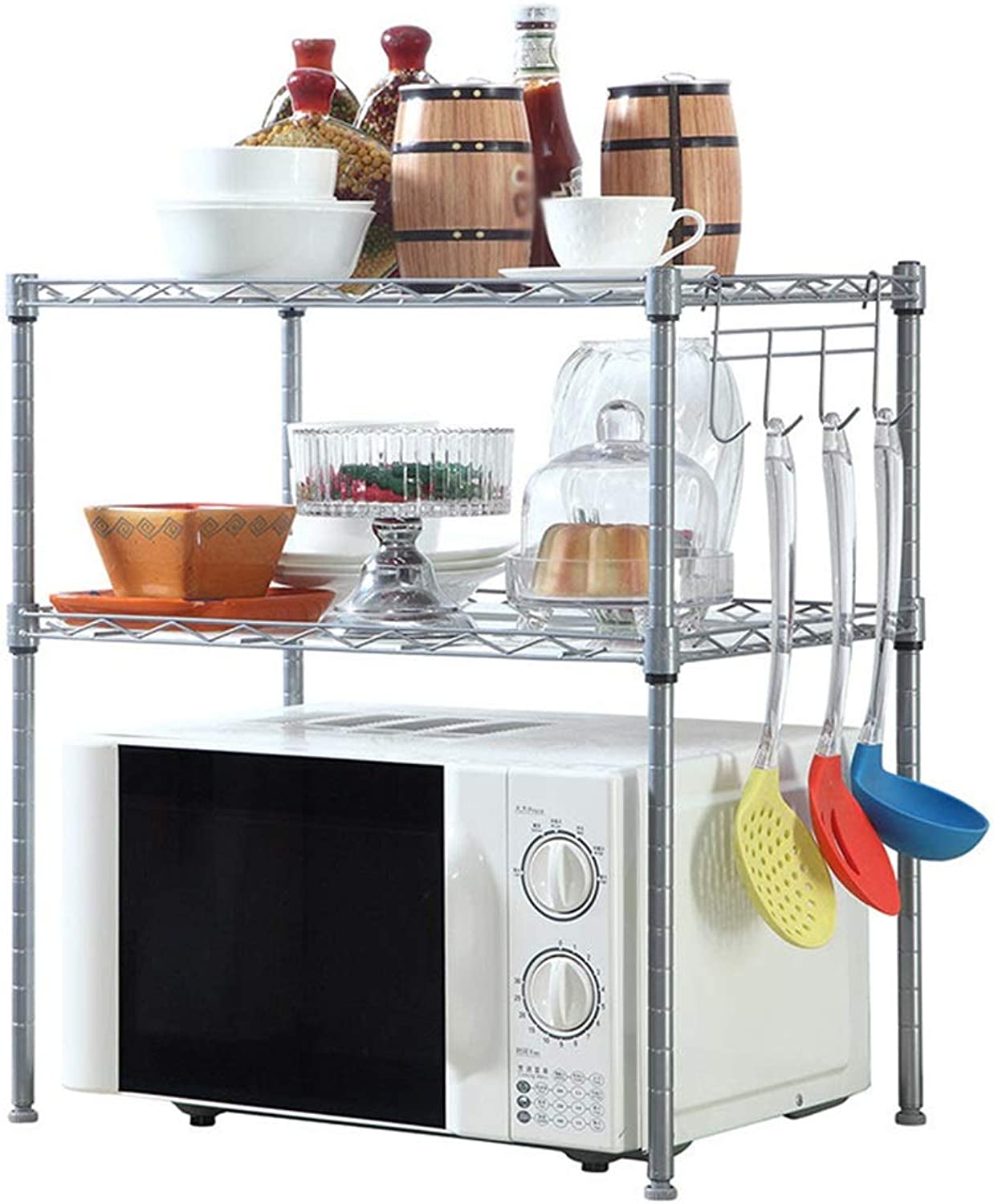 Kitchen Shelf Microwave Shelf Small Size Rust-Proof Carbon Steel + Pp Plastic 3 Layer Floor Storage Shelf 21.6  13.7  22.8 Inches