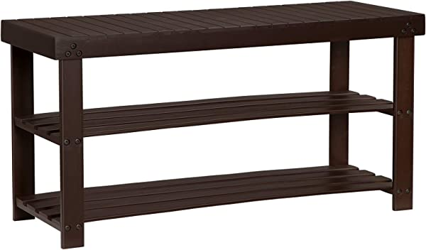 SONGMICS Bamboo Shoe Bench With Storage 3 Tier Shoe Rack Holds Up To 286 Lb Entryway Organizer 35 4 Inches Long Brown ULBS90BR