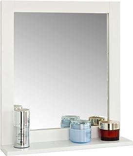 SoBuy FRG129-W Miroir Mural Meuble Salle de Bain avec 1 étage Plateau L40xP10xH49cm- Blanc