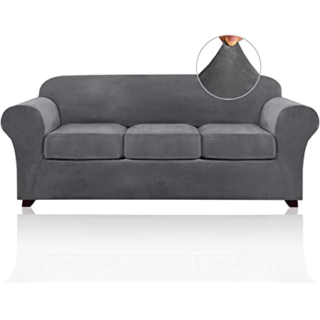 4 Pieces Sofa Covers Stretch Velvet Couch Covers for 3 Cushion Sofa Slipcovers Thick Soft Sofa Slip Covers with 2 Non Slip Straps Furniture Covers with 3 Individual Seat Cushion Covers (Sofa, Grey)