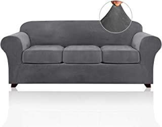 Best 4 Pieces Sofa Covers Stretch Velvet Couch Covers for 3 Cushion Sofa Slipcovers Thick Soft Sofa Slip Covers with 2 Non Slip Straps Furniture Covers with 3 Individual Seat Cushion Covers (Sofa, Grey) Review