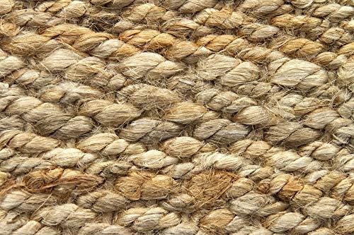 HAMID Jute Teppich - Granada Teppich 100% Natürliche Jutefaser - Weicher Teppich und Hohe Festigkeit - Handgewebt - Wohnzimmer, Esszimmer, Schlafzimmer, Flurteppich - Natürlich (150x150cm) - 6