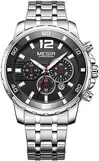 Megir Wrist Watch for Men, Stainless Steel, MS2068G-1
