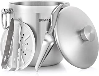Ice Bucket with Lid and Strainer – Well Made Insulated Stainless Steel Double Wall..
