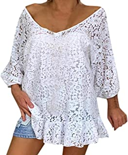 Blouse For Women, OULSEN Summer Loose Casual Hollow Lace Sexy Top Shirt Long Sleeve V Neck Off Shoulder Tunics Ruffle Plus Size Blouse Shirts Women