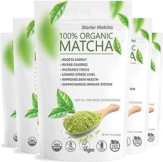 Starter Matcha Set of 5 (5x12oz) USDA Organic Matcha Bulk | Natural Matcha Green Tea Powder | Matcha Tea Weight Loss | Sugar Free Matcha Green Tea Powder