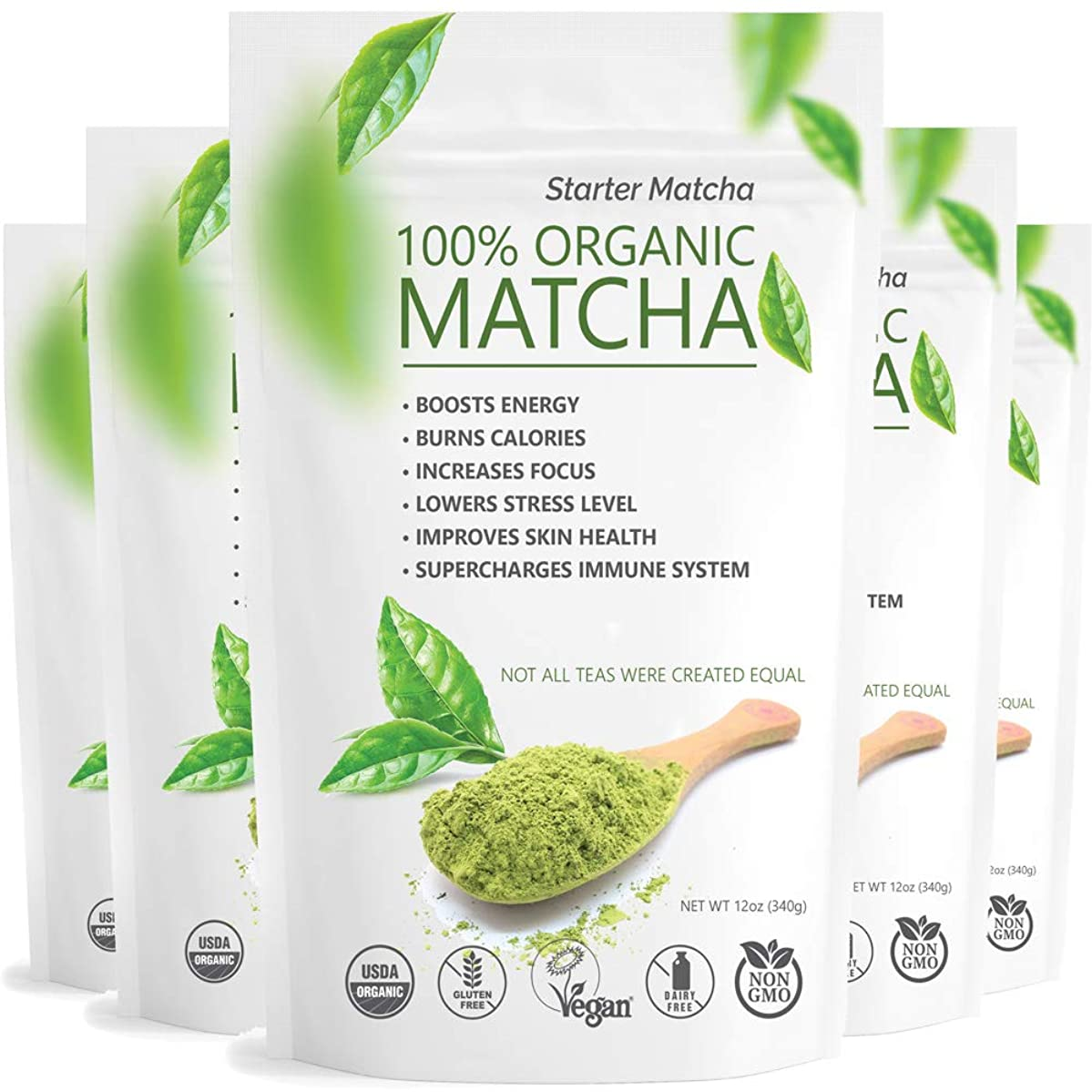 Starter Matcha - Pure Matcha Green Tea Powder, Incredible Flavor, Delicate Aroma, Natural Energy Booster and Fat Burner (5 x 12oz)