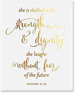 She Is Clothed With Strength And Dignity Gold Foil Print Script Poster Bible Verse Proverbs 31:25 Nursery Wall Art Religious Home Decor 8 inches x 10 inches B31