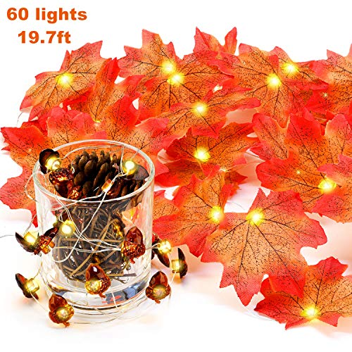 Mudder 2 Pieces 60 LED Fall Leaf Garland Maple Leaves String Lights Christmas Acorn Design Lights String for Thanksgiving Christmas Decoration