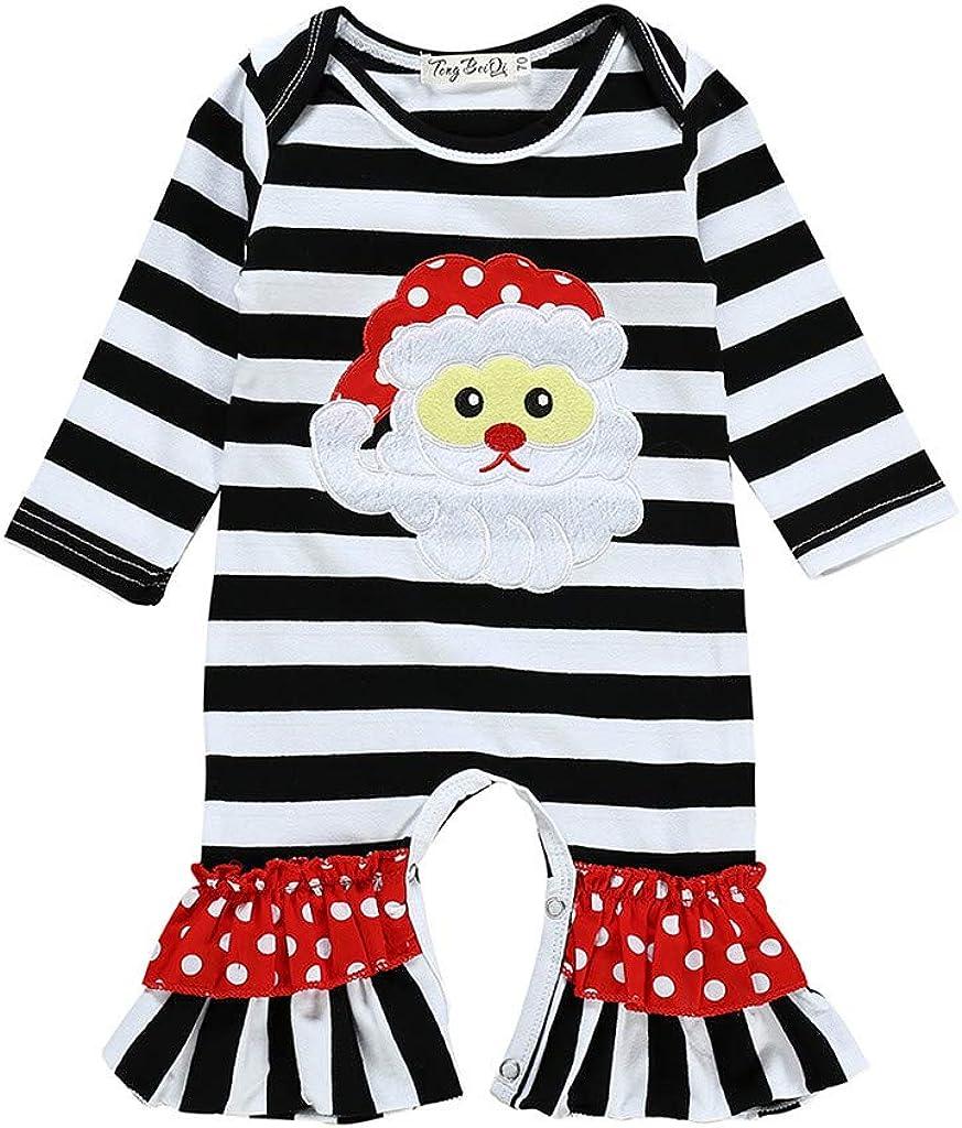 Little Story Baby Boys Girls Infant Striped Christmas Santa Romp