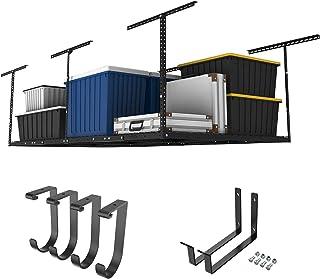 "FLEXIMOUNTS 4x8 Overhead Garage Storage Rack w/Hooks Adjustable Ceiling Storage Rack, 96"" Length x 48"" Width x 40"" Height,..."