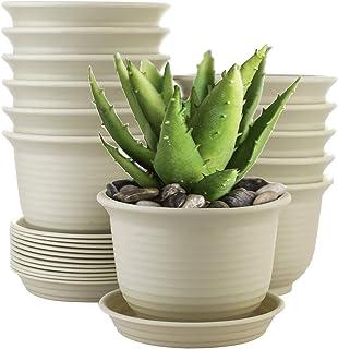Akarden 12 Set Flower Pots, Pots with Drainage Hole, Plastic Flower Pots with Pallet