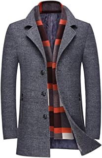 Men's Wool Trench Coat Winter Slim Fit Pea Coat with Free Removable Plaid Scarf