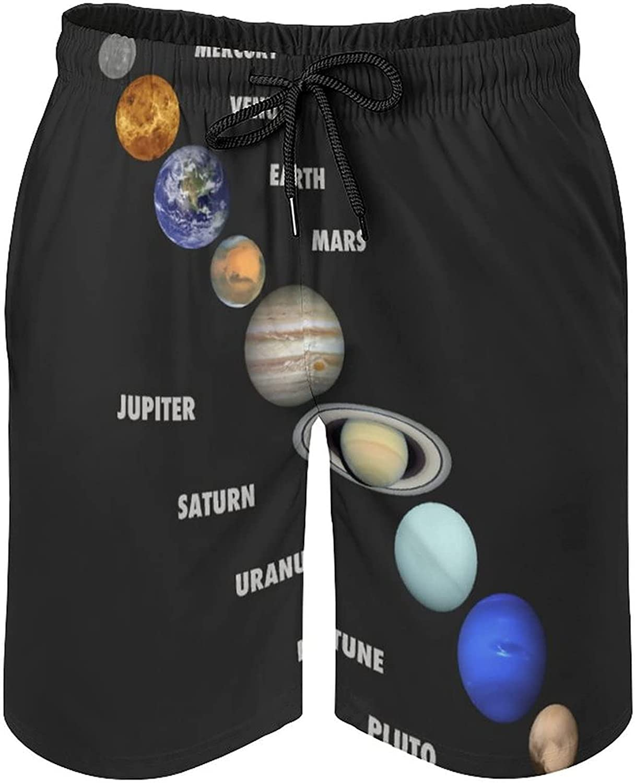 B&MAVIS Planets Solar System Men's Summer Quick Dry Swim Trunks Casual Board Shorts Beachwear for Boys Men