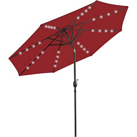 SUPER DEAL 10FT Solar LED Lighted Patio Umbrella Table Umbrella - Push Button - Tilt Adjustment&Crank Lift System - Aluminum Ribs for Patio, Garden, Backyard, Deck, Poolside, and More (Burgundy)