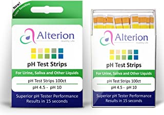 pH Test Strips 100ct by Alterion - Fast & Simple pH Strips for Urine and Saliva - Quick and Accurate Results in 15 Seconds