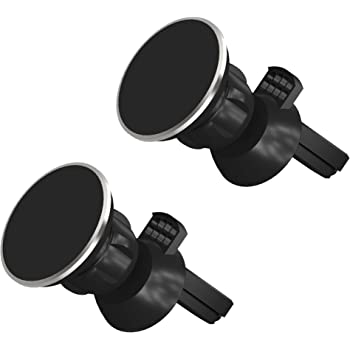 Magnetic Phone Car Mount 2 Pack by TalkWorks | Universal Cell Phone Holder Air Vent Magnet Compatible with Apple iPhone 11, 11 Pro/Max, XR, XS/Max, X, 8, 7, 6, SE, 5 & for Samsung Galaxy S20, S10, S9