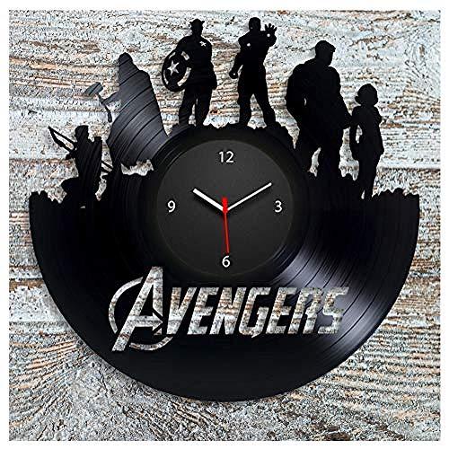 TXYANG Avengers Schallplatte Wanduhr 12 Zoll Handgemachte Handgemachte Geburtstagsgeschenk Kreative Uhr Stumm Retro Home Decoration Wanduhr